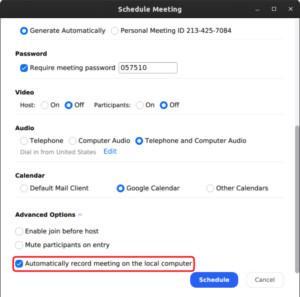 Auto Record Zoom Meetings