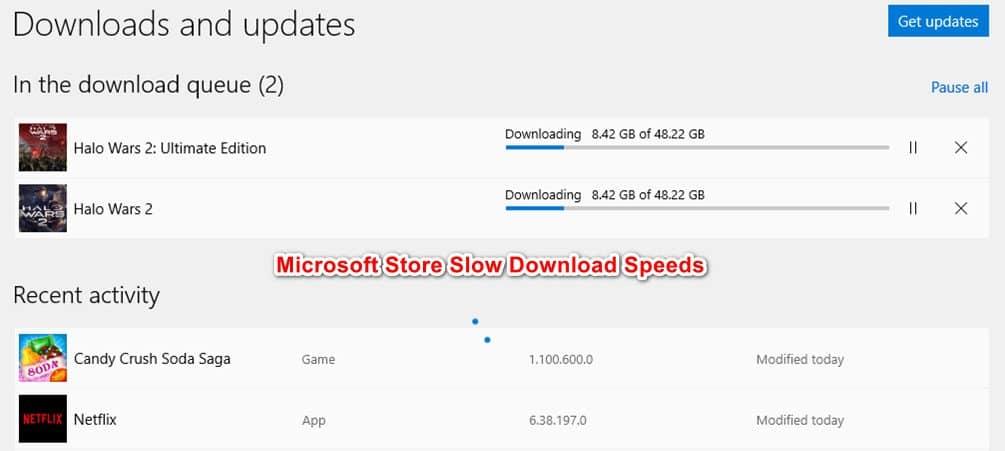 Microsoft store downloads slow