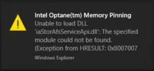 intel optane memory pinning unable to load dll
