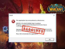 WOW 134 error fix