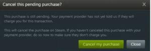 steam transaction pending